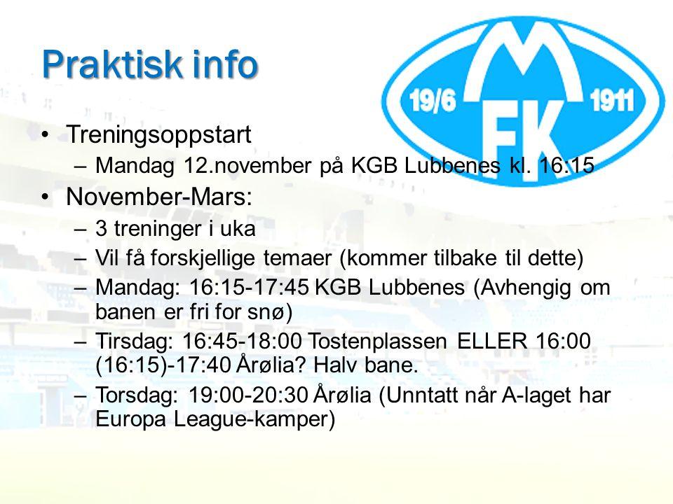 Praktisk info •Treningsoppstart –Mandag 12.november på KGB Lubbenes kl. 16:15 •November-Mars: –3 treninger i uka –Vil få forskjellige temaer (kommer t