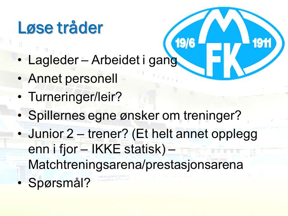 Løse tråder •Lagleder – Arbeidet i gang •Annet personell •Turneringer/leir? •Spillernes egne ønsker om treninger? •Junior 2 – trener? (Et helt annet o