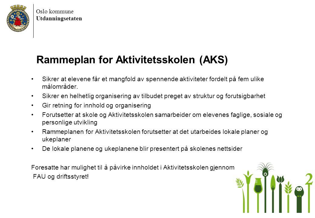 Oslo kommune Utdanningsetaten Rammeplan for Aktivitetsskolen (AKS) •Sikrer at elevene får et mangfold av spennende aktiviteter fordelt på fem ulike må