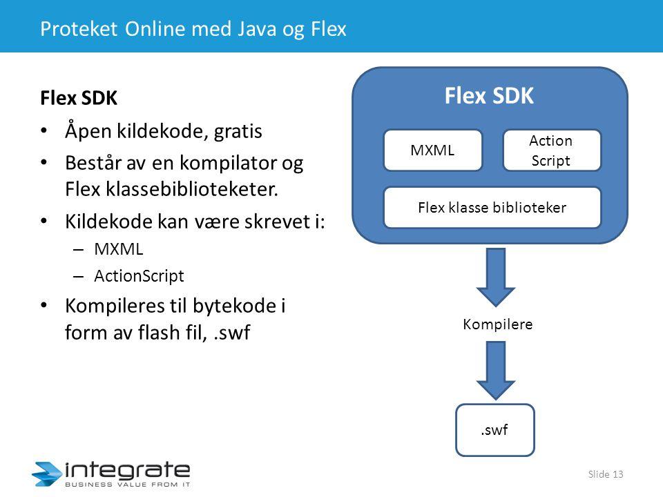 Proteket Online med Java og Flex Flex SDK • Åpen kildekode, gratis • Består av en kompilator og Flex klassebiblioteketer.