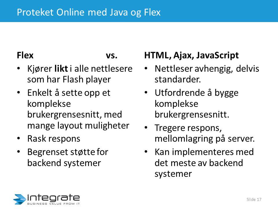 Proteket Online med Java og Flex Flex vs.