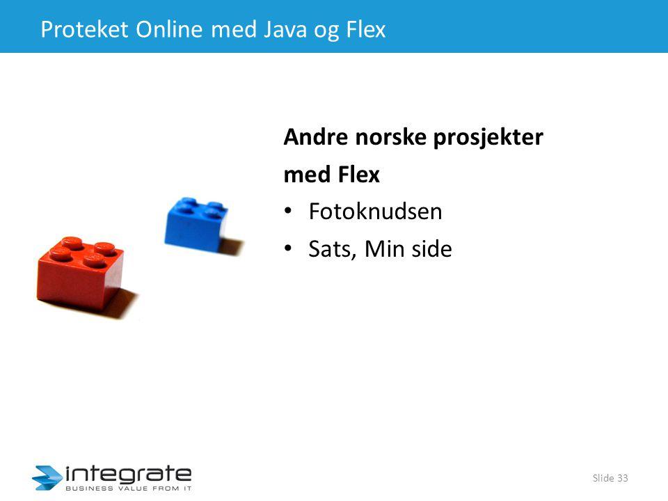 Proteket Online med Java og Flex Andre norske prosjekter med Flex • Fotoknudsen • Sats, Min side Slide 33