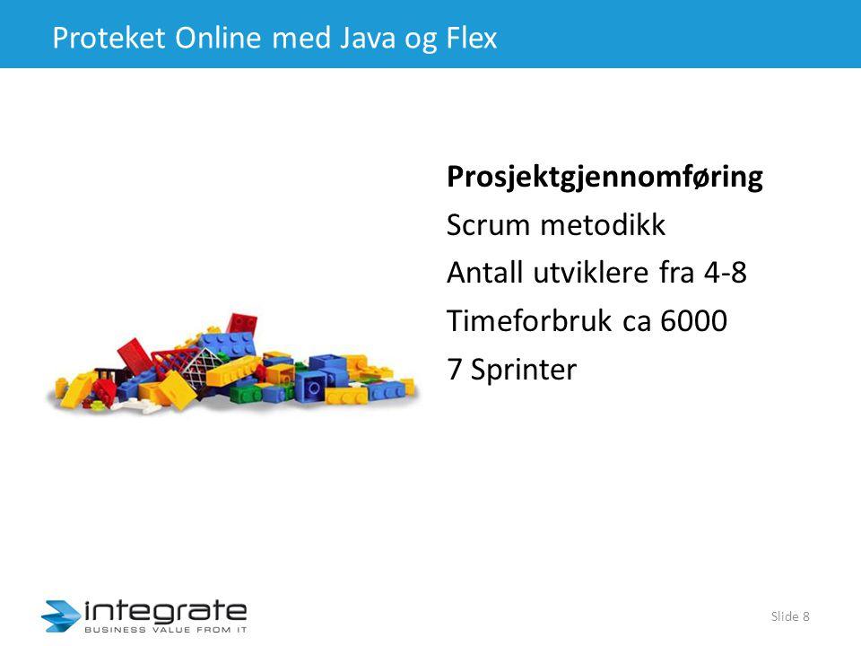 Proteket Online med Java og Flex Prosjektgjennomføring Scrum metodikk Antall utviklere fra 4-8 Timeforbruk ca 6000 7 Sprinter Slide 8