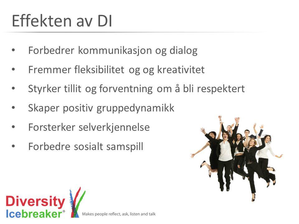 Effekten av DI • Forbedrer kommunikasjon og dialog • Fremmer fleksibilitet og og kreativitet • Styrker tillit og forventning om å bli respektert • Ska