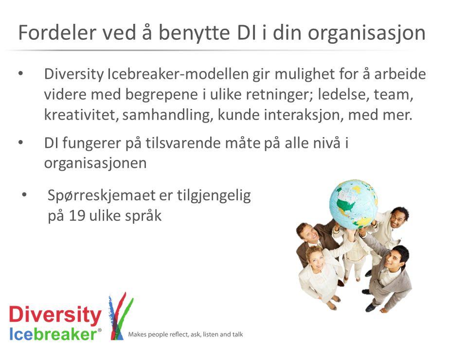 • Diversity Icebreaker-modellen gir mulighet for å arbeide videre med begrepene i ulike retninger; ledelse, team, kreativitet, samhandling, kunde inte