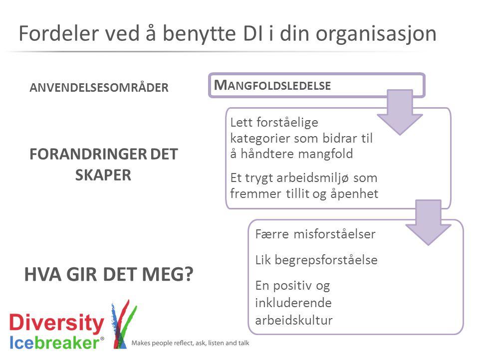 Fordeler ved å benytte DI i din organisasjon M ANGFOLDSLEDELSE Lett forståelige kategorier som bidrar til å håndtere mangfold Et trygt arbeidsmiljø so