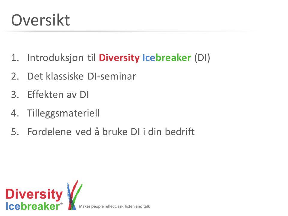 Oversikt 1.Introduksjon til Diversity Icebreaker (DI) 2.Det klassiske DI-seminar 3.Effekten av DI 4.Tilleggsmateriell 5.Fordelene ved å bruke DI i din