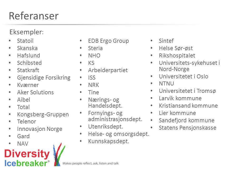Referanser • Statoil • Skanska • Hafslund • Schibsted • Statkraft • Gjensidige Forsikring • Kværner • Aker Solutions • Aibel • Total • Kongsberg-Grupp