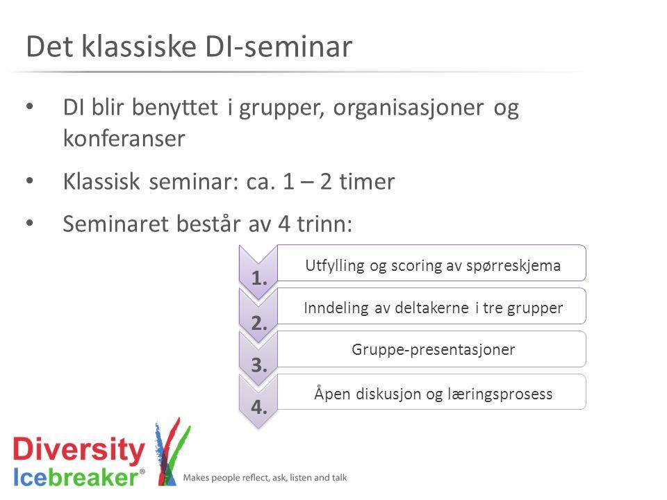 Det klassiske DI-seminar • DI blir benyttet i grupper, organisasjoner og konferanser • Klassisk seminar: ca. 1 – 2 timer • Seminaret består av 4 trinn