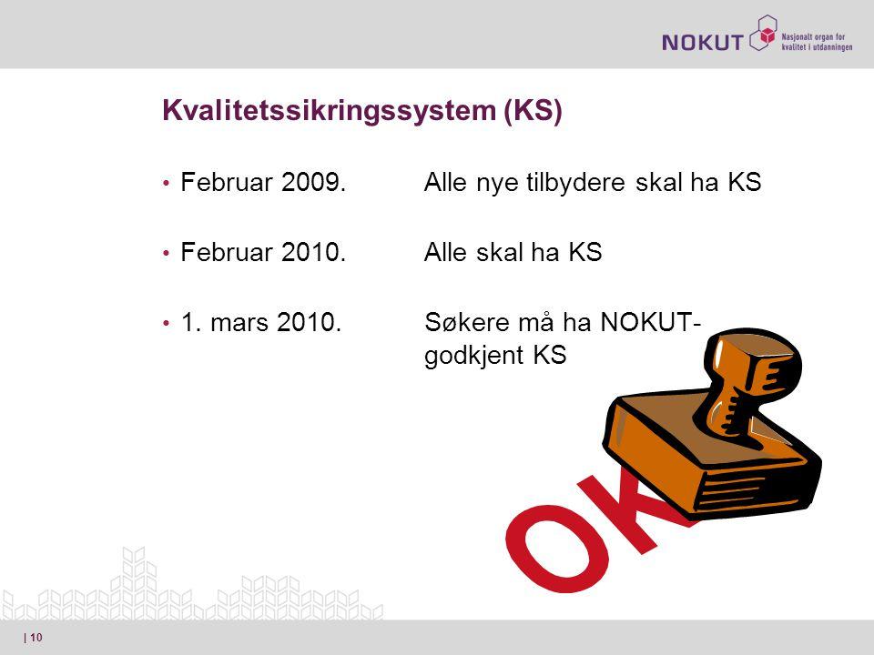 Kvalitetssikringssystem (KS) • Februar 2009. Alle nye tilbydere skal ha KS • Februar 2010.