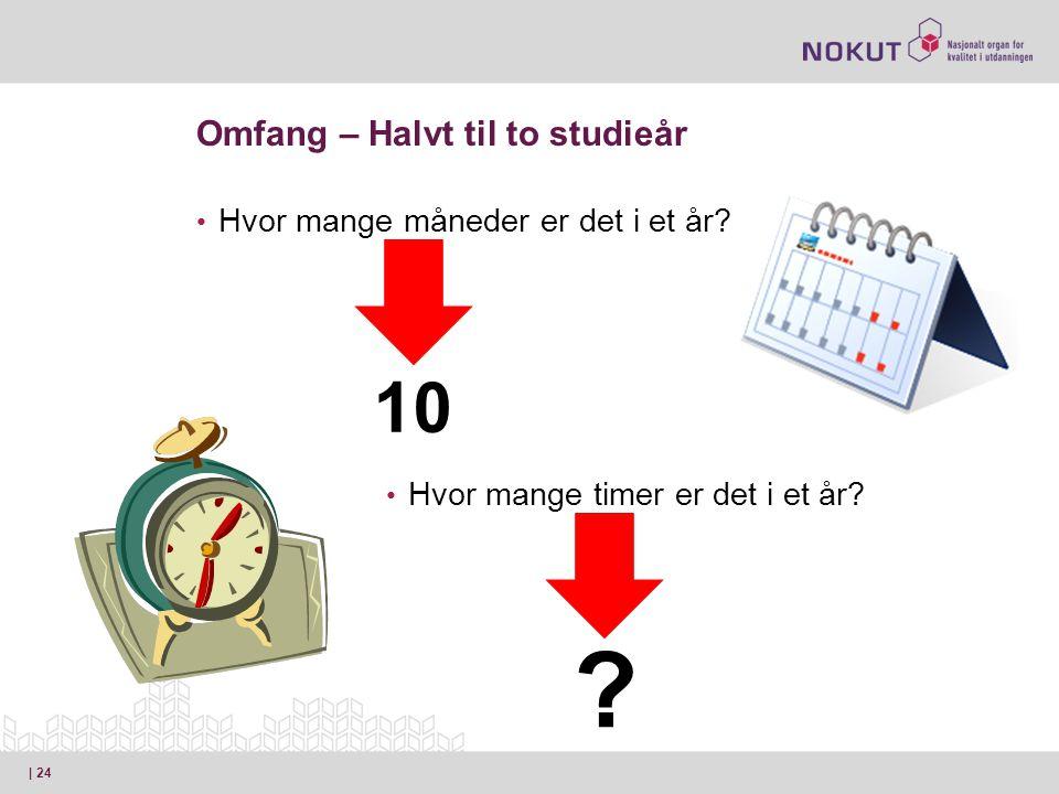 Omfang – Halvt til to studieår • Hvor mange måneder er det i et år.