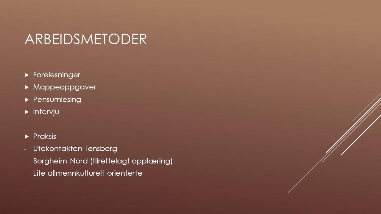 ARBEIDSMETODER  Forelesninger  Mappeoppgaver  Pensumlesing  Intervju  Praksis - Utekontakten Tønsberg - Borgheim Nord (tilrettelagt opplæring) -