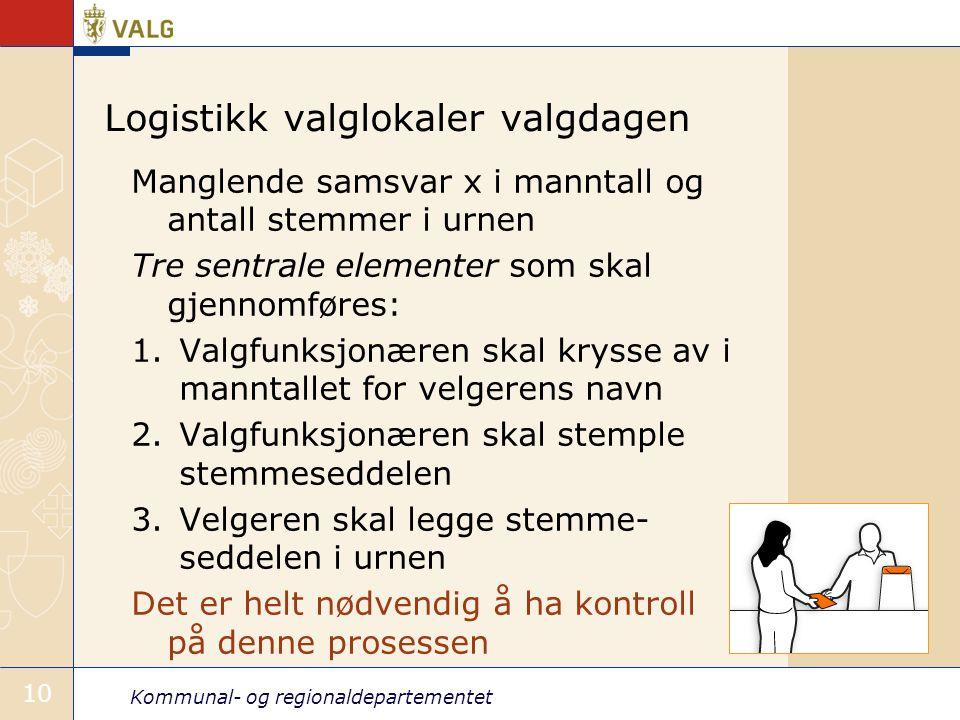 Kommunal- og regionaldepartementet 10 Logistikk valglokaler valgdagen Manglende samsvar x i manntall og antall stemmer i urnen Tre sentrale elementer