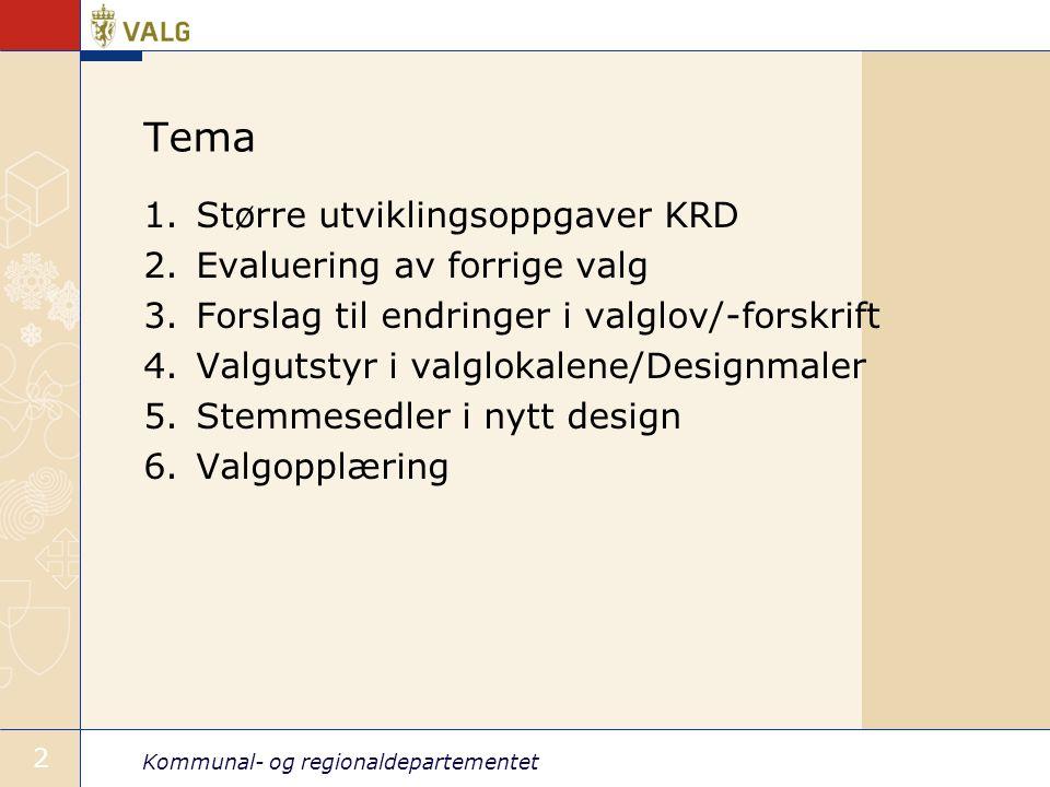 Kommunal- og regionaldepartementet 2 Tema 1.Større utviklingsoppgaver KRD 2.Evaluering av forrige valg 3.Forslag til endringer i valglov/-forskrift 4.