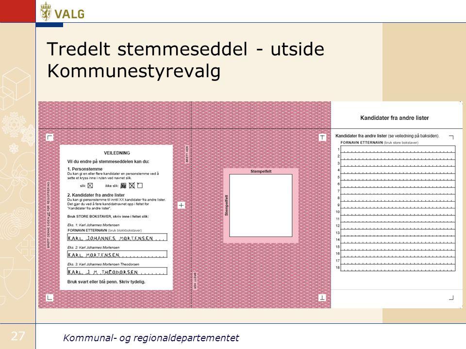 Kommunal- og regionaldepartementet 27 Tredelt stemmeseddel - utside Kommunestyrevalg