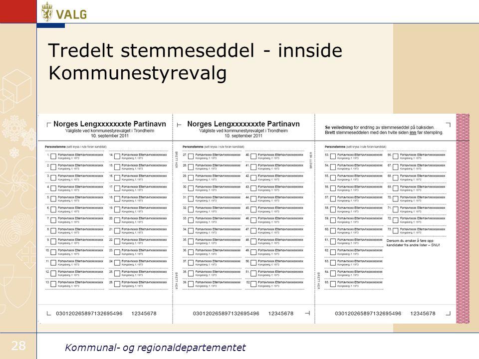 Kommunal- og regionaldepartementet 28 Tredelt stemmeseddel - innside Kommunestyrevalg