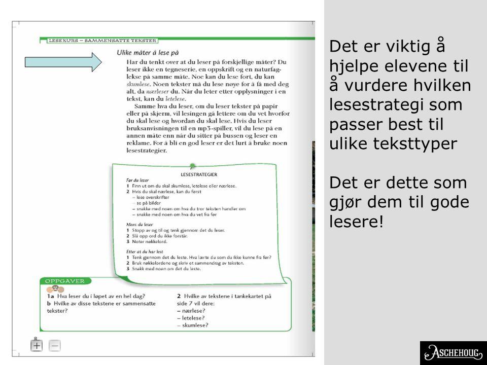 Det er viktig å hjelpe elevene til å vurdere hvilken lesestrategi som passer best til ulike teksttyper Det er dette som gjør dem til gode lesere!