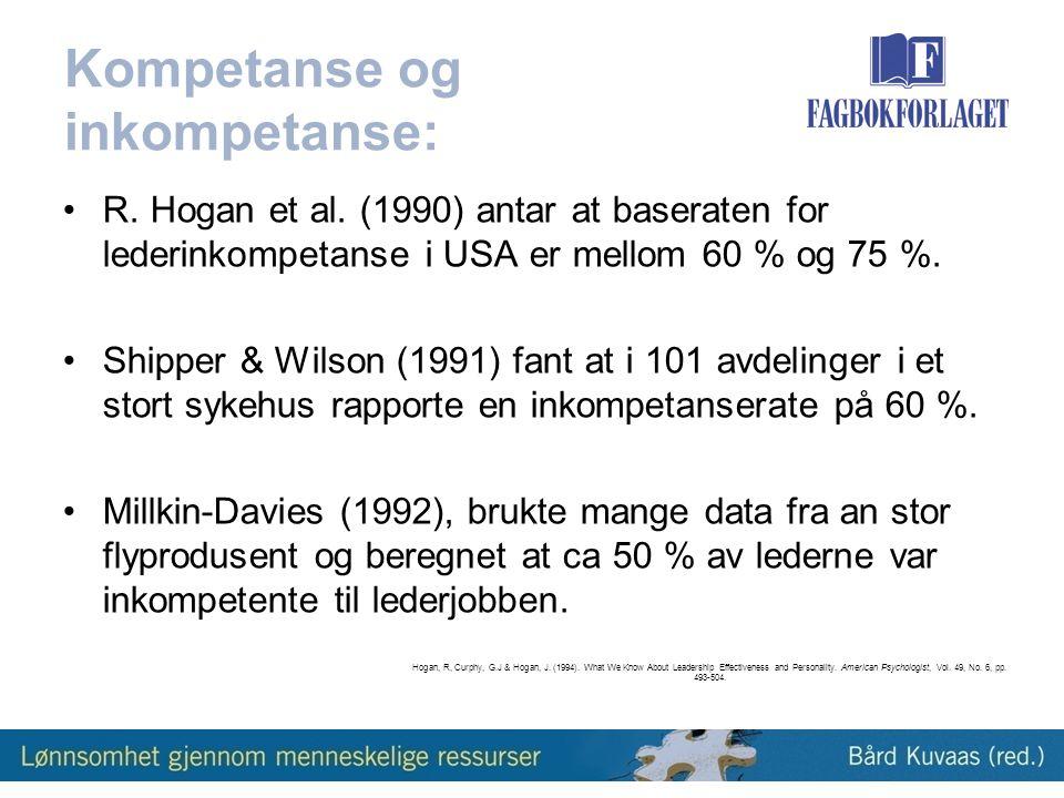 Kompetanse og inkompetanse: •R.Hogan et al.