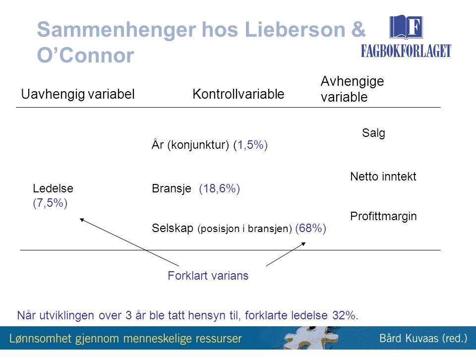 Sammenhenger hos Lieberson & O'Connor Salg Profittmargin Netto inntekt Ledelse (7,5%) År (konjunktur) (1,5%) Bransje (18,6%) Selskap (posisjon i bransjen) (68%) Uavhengig variabelKontrollvariable Avhengige variable Forklart varians Når utviklingen over 3 år ble tatt hensyn til, forklarte ledelse 32%.
