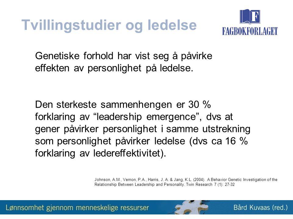 Genetiske forhold har vist seg å påvirke effekten av personlighet på ledelse.