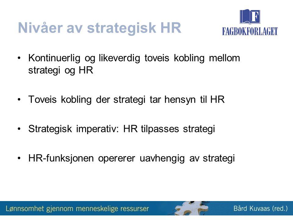 Nivåer av strategisk HR •Kontinuerlig og likeverdig toveis kobling mellom strategi og HR •Toveis kobling der strategi tar hensyn til HR •Strategisk imperativ: HR tilpasses strategi •HR-funksjonen opererer uavhengig av strategi