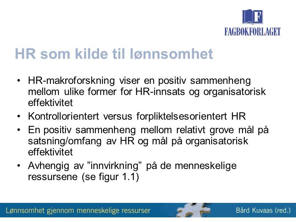 HR som kilde til lønnsomhet •HR-makroforskning viser en positiv sammenheng mellom ulike former for HR-innsats og organisatorisk effektivitet •Kontrollorientert versus forpliktelsesorientert HR •En positiv sammenheng mellom relativt grove mål på satsning/omfang av HR og mål på organisatorisk effektivitet •Avhengig av innvirkning på de menneskelige ressursene (se figur 1.1)
