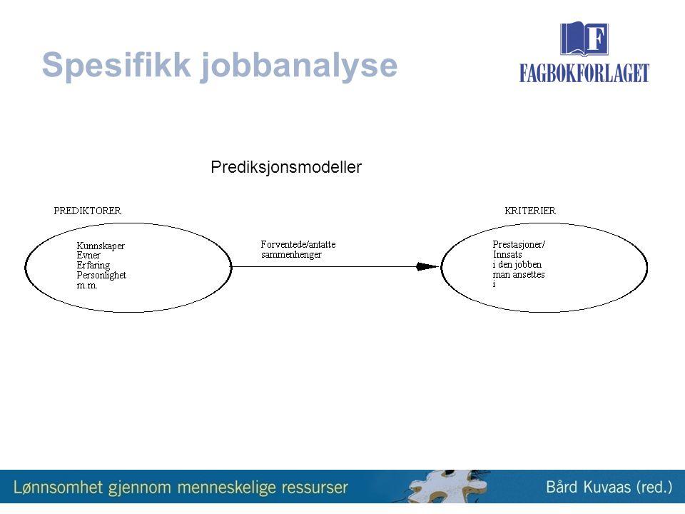 Spesifikk jobbanalyse Prediksjonsmodeller