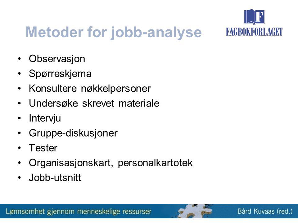 Metoder for jobb-analyse •Observasjon •Spørreskjema •Konsultere nøkkelpersoner •Undersøke skrevet materiale •Intervju •Gruppe-diskusjoner •Tester •Organisasjonskart, personalkartotek •Jobb-utsnitt