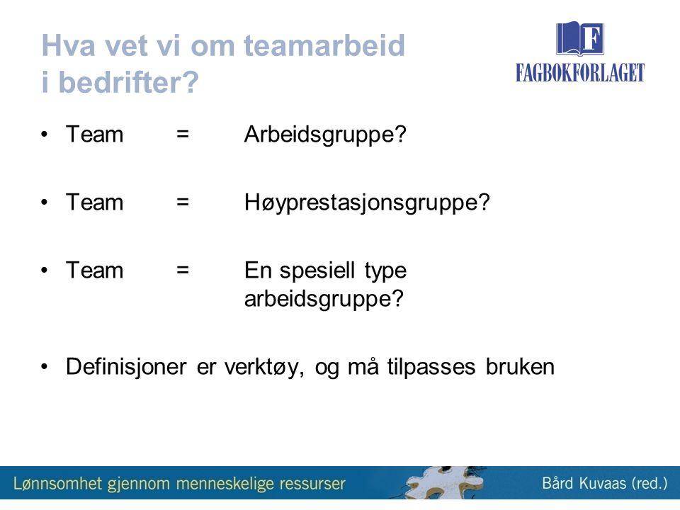 Hva vet vi om teamarbeid i bedrifter.•Team=Arbeidsgruppe.