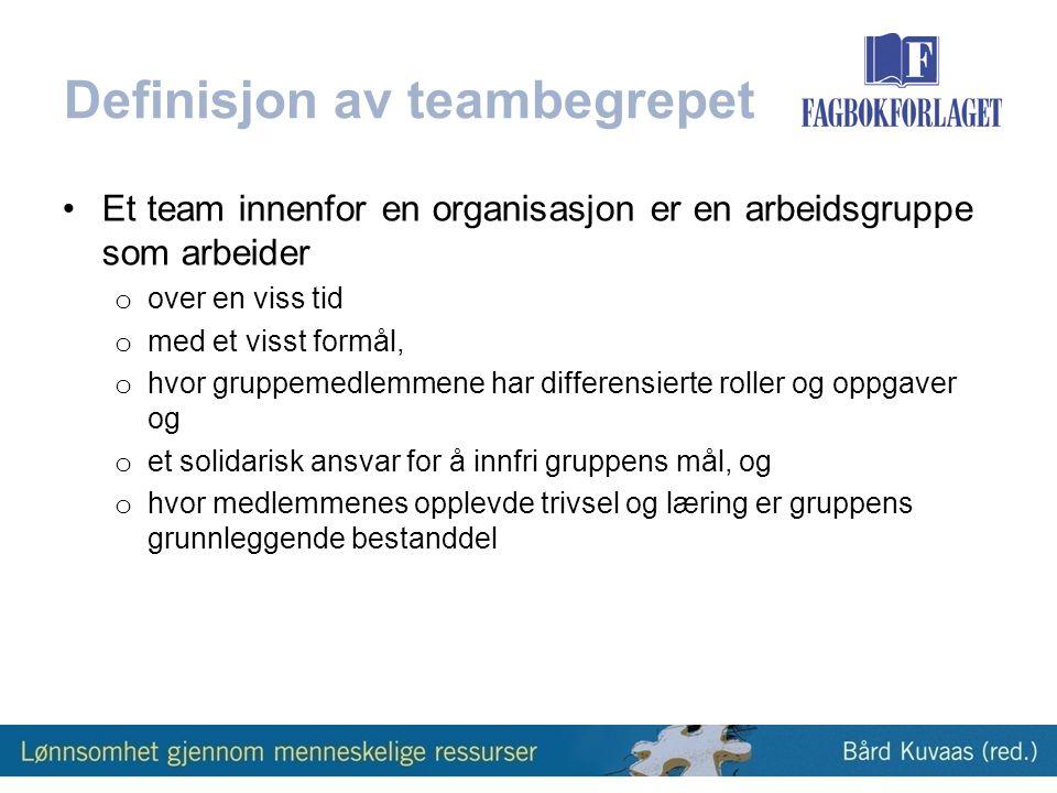 Definisjon av teambegrepet •Et team innenfor en organisasjon er en arbeidsgruppe som arbeider o over en viss tid o med et visst formål, o hvor gruppemedlemmene har differensierte roller og oppgaver og o et solidarisk ansvar for å innfri gruppens mål, og o hvor medlemmenes opplevde trivsel og læring er gruppens grunnleggende bestanddel