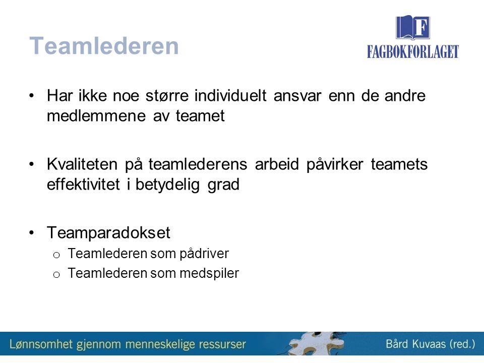 Teamlederen •Har ikke noe større individuelt ansvar enn de andre medlemmene av teamet •Kvaliteten på teamlederens arbeid påvirker teamets effektivitet i betydelig grad •Teamparadokset o Teamlederen som pådriver o Teamlederen som medspiler