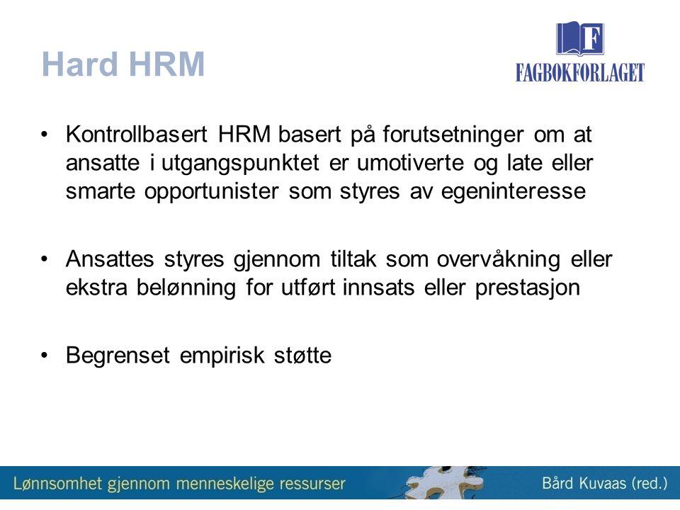 Kapittel 10 HR-strategi og internt konsistent HR