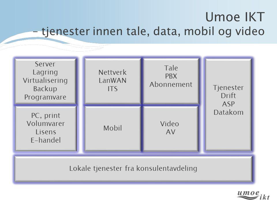 Umoe IKT – tjenester innen tale, data, mobil og video Lokale tjenester fra konsulentavdeling PC, print Volumvarer Lisens E-handel PC, print Volumvarer