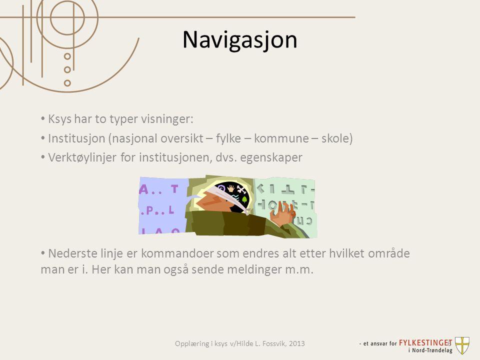 Navigasjon • Ksys har to typer visninger: • Institusjon (nasjonal oversikt – fylke – kommune – skole) • Verktøylinjer for institusjonen, dvs. egenskap