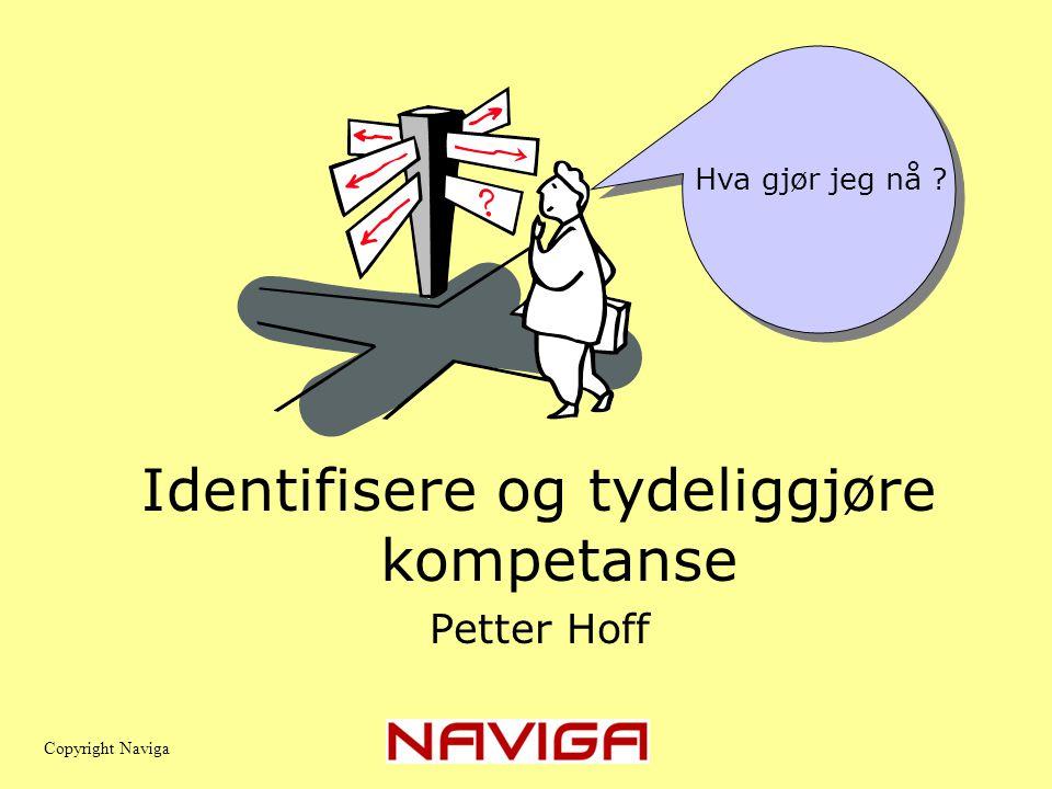 Identifisere og tydeliggjøre kompetanse Petter Hoff Copyright Naviga Hva gjør jeg nå ?