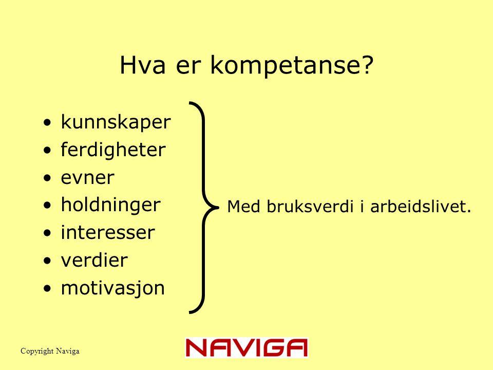 Hva er kompetanse? •kunnskaper •ferdigheter •evner •holdninger •interesser •verdier •motivasjon Med bruksverdi i arbeidslivet. Copyright Naviga