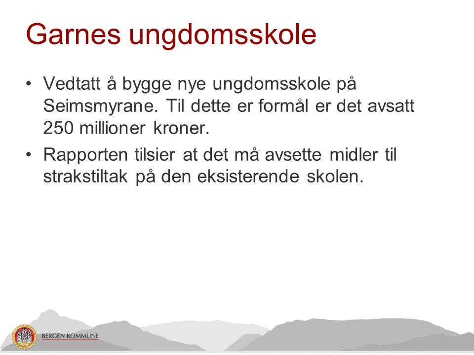 Garnes ungdomsskole •Vedtatt å bygge nye ungdomsskole på Seimsmyrane. Til dette er formål er det avsatt 250 millioner kroner. •Rapporten tilsier at de