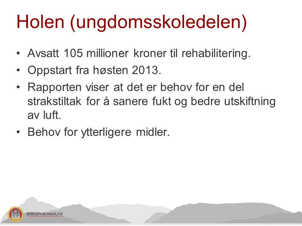 Holen (ungdomsskoledelen) •Avsatt 105 millioner kroner til rehabilitering. •Oppstart fra høsten 2013. •Rapporten viser at det er behov for en del stra