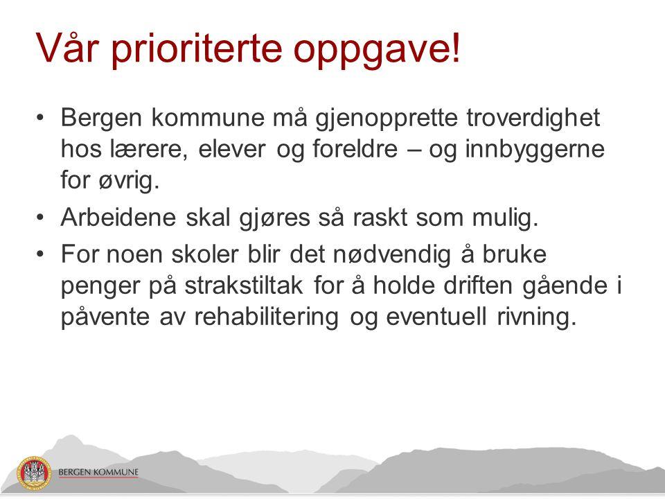 Vår prioriterte oppgave! •Bergen kommune må gjenopprette troverdighet hos lærere, elever og foreldre – og innbyggerne for øvrig. •Arbeidene skal gjøre