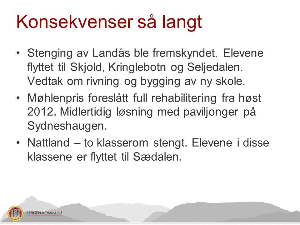 Konsekvenser så langt •Stenging av Landås ble fremskyndet. Elevene flyttet til Skjold, Kringlebotn og Seljedalen. Vedtak om rivning og bygging av ny s
