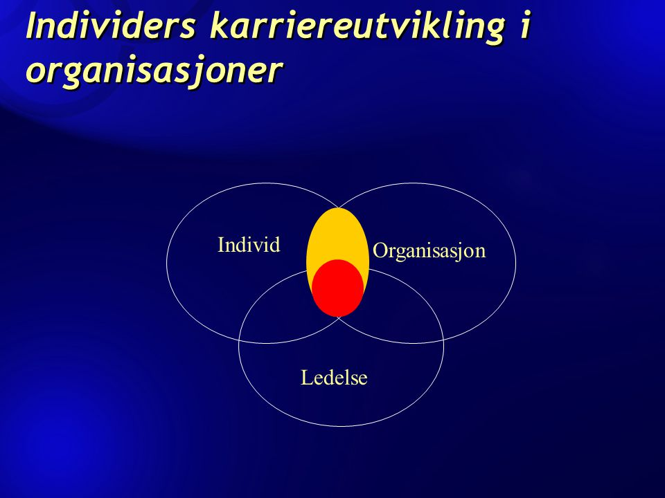 Individers karriereutvikling i organisasjoner Individ Organisasjon Ledelse