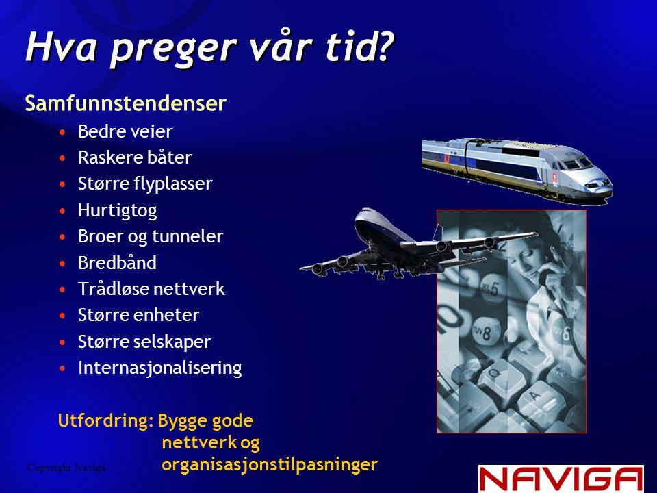 Hva preger vår tid? Samfunnstendenser •Bedre veier •Raskere båter •Større flyplasser •Hurtigtog •Broer og tunneler •Bredbånd •Trådløse nettverk •Størr