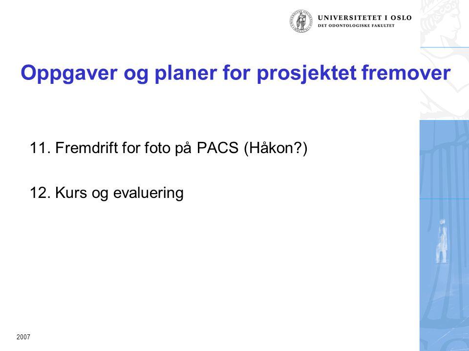 2007 Oppgaver og planer for prosjektet fremover 11.