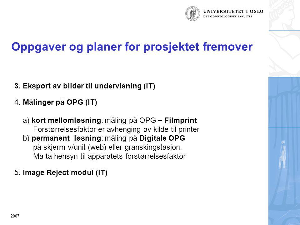 2007 Oppgaver og planer for prosjektet fremover 3.