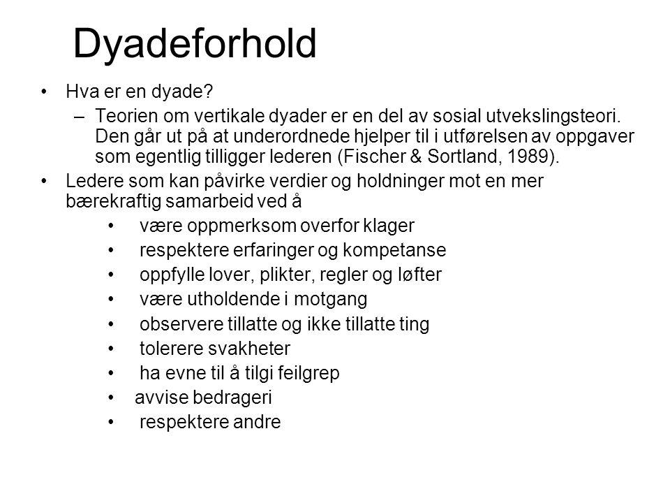 Dyadeforhold •Hva er en dyade. –Teorien om vertikale dyader er en del av sosial utvekslingsteori.