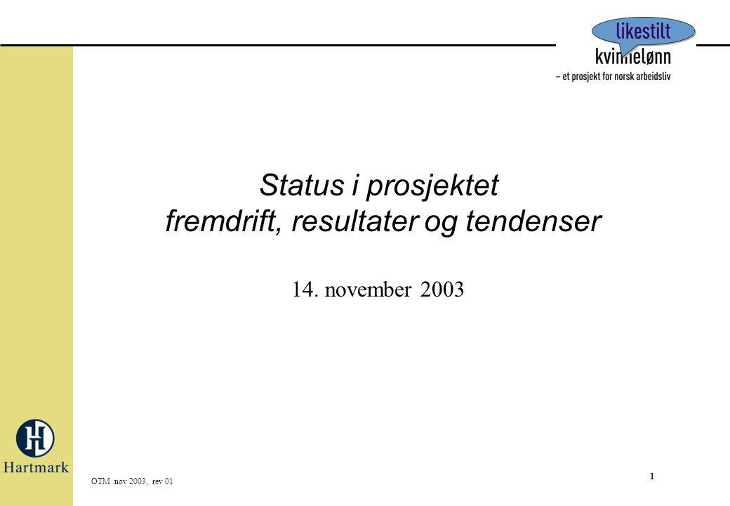 1 OTM nov 2003, rev 01 Status i prosjektet fremdrift, resultater og tendenser 14. november 2003