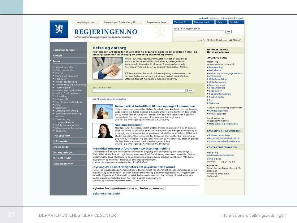 21 InformasjonsforvaltningsavdelingenDEPARTEMENTENES SERVICESENTER