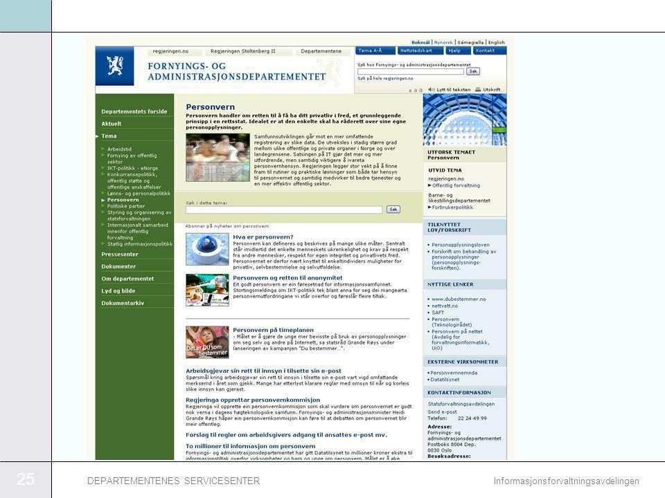 25 InformasjonsforvaltningsavdelingenDEPARTEMENTENES SERVICESENTER