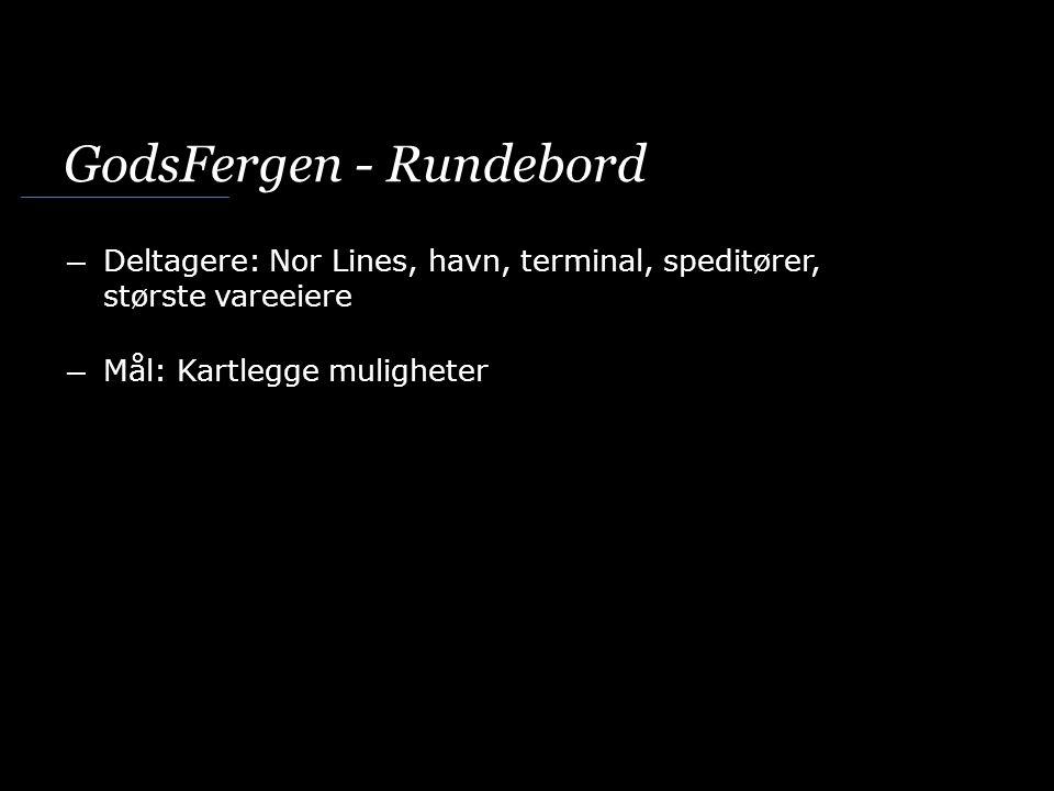 GodsFergen - Rundebord ― Deltagere: Nor Lines, havn, terminal, speditører, største vareeiere ― Mål: Kartlegge muligheter