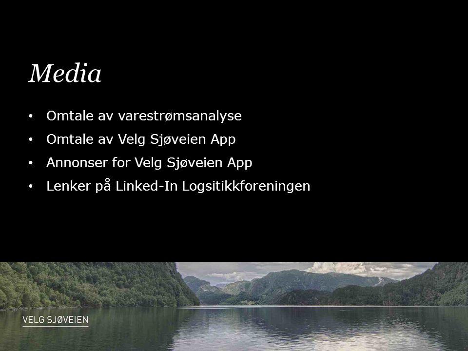 Media • Omtale av varestrømsanalyse • Omtale av Velg Sjøveien App • Annonser for Velg Sjøveien App • Lenker på Linked-In Logsitikkforeningen